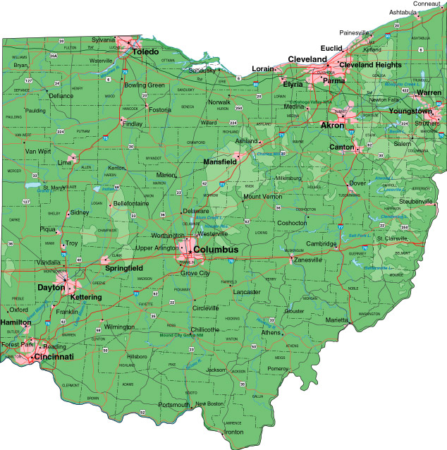 map of ohio with cities. Detailed map of Ohio