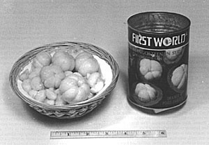 Peeled mangosteens, in light sirup, canned in Thailand.